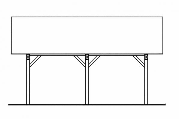 Two Car Carport Plan 20-028 - Right Elevation