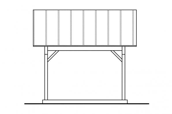 Two Car Carport Plan 20-044 - Right Elevation