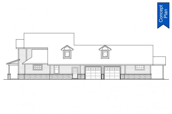 Two Story House Plan - Idllywild 31-220 - Right Elevation