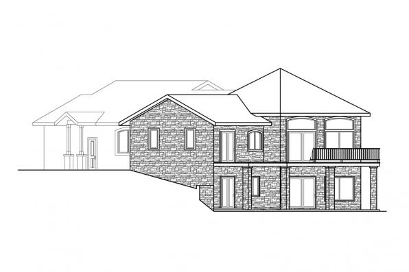 Sloped Lot House Plan - Williamsburg 11-147 - Right Elevation