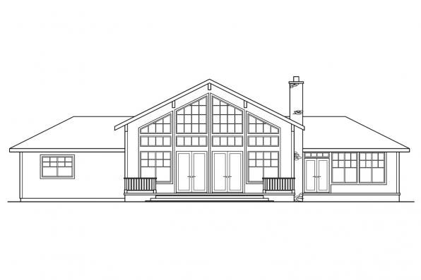 View Lot House Plan - Heartford 10-420 - Rear Elevation