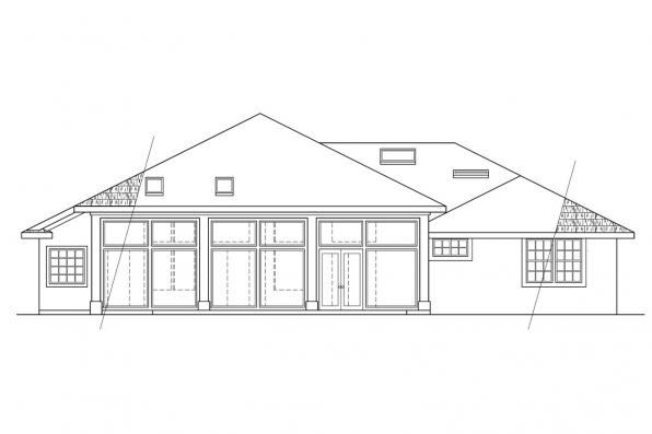 View Lot House Plan - St. Augustine 10-302 - Rear Elevation