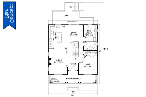 2 Story Concept House Plan - Ithaca 31-102 - First Floor Plan