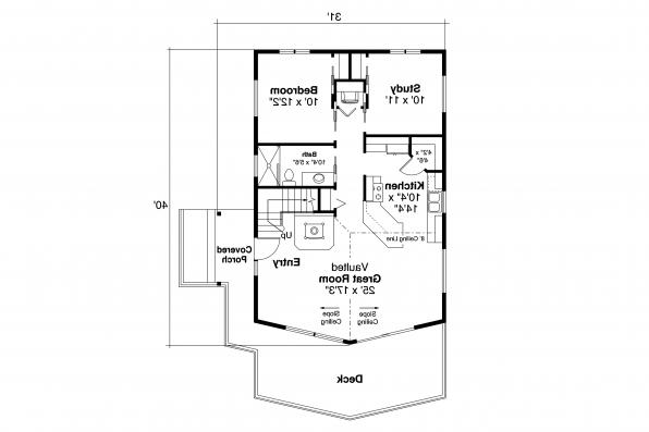 Lodge Style House Plan Timber Hill 31-122 - First Floor
