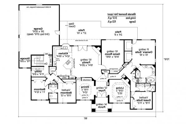 Southwest House Plan - Barstow 30-050 - Alternate Basement Stair Layout