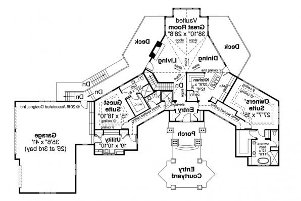 Chalet House Plan - Barrett 30-773 - First Floor Plan