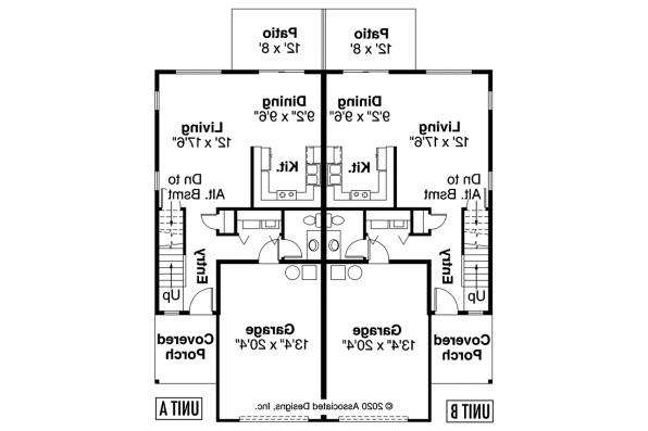Duplex Plan - Bergen 60-026 - First Floor Plan