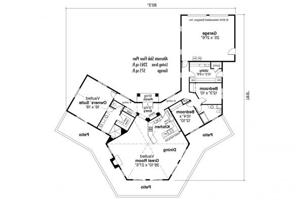 View Lot House Plan - Rosabella 11-137 - Alternate Slab Floor Plan Layout