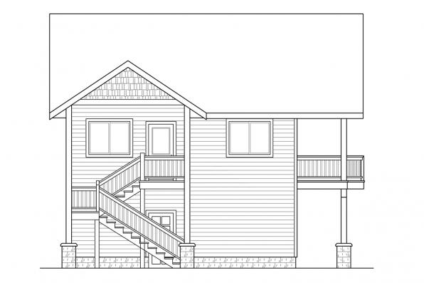 3 Car Garage Plan 20-152 - Right Elevation