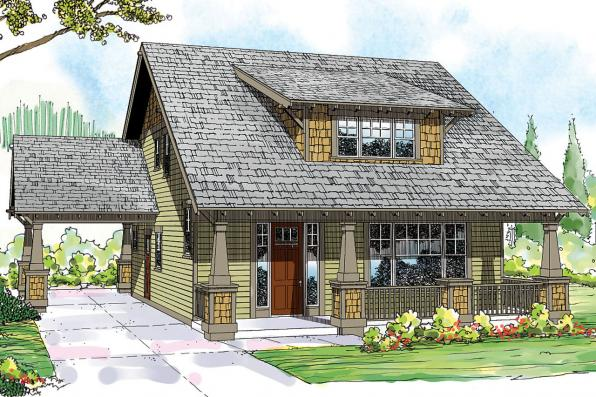 Bungalow House Plan - Greenwood 70-001 - Front Elevation