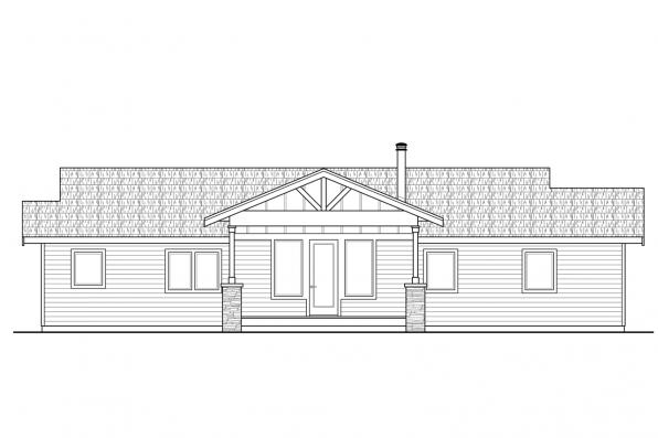 Bungalow House Plan - Lakeville 30-998 - Rear Elevation