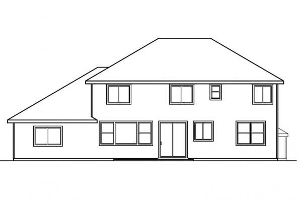 Classic House Plan - Materson 30-455 - Rear Elevation