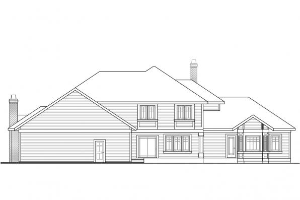 Classic House Plan - Masonville 30-935 - Rear Elevation