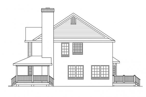 Colonial House Plan - Cimarron 10-208 - Left Elevation