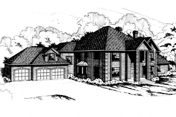 Colonial House plan - Franklin 50-001 - Front Elevation