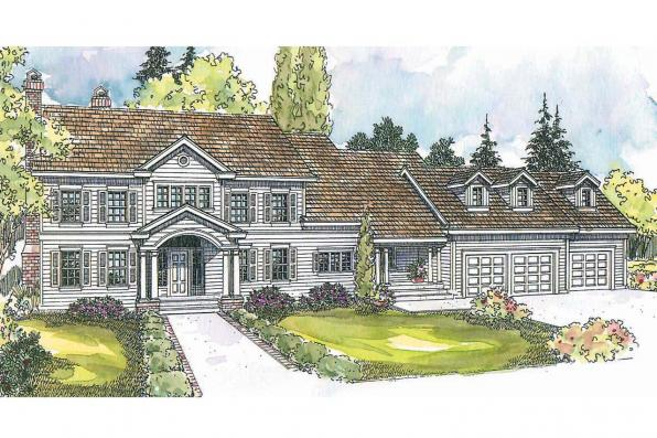 Colonial House Plan - Princeton 30-497 - Front Elevation