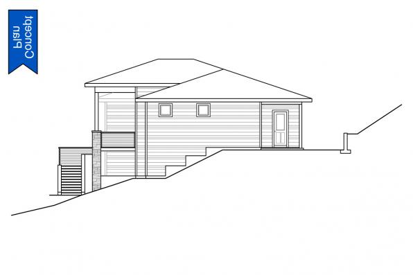 Hillside Lot House Plan - Nehalem 31-233 - Left Elevation
