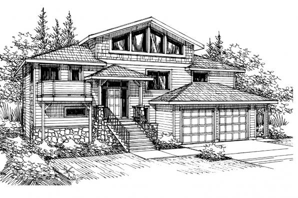 Contemporary House Plan - Matice 30-144 - Front Elevation