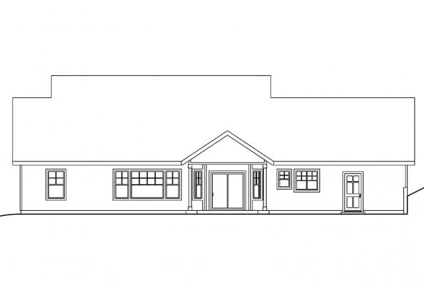 Cottage House Plan - Cumberland 30-606 - Rear Elevation
