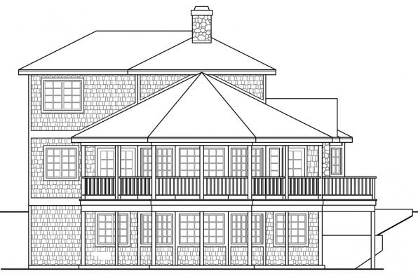 Cottage House Plan - New Haven 10-611 - Right Elevation