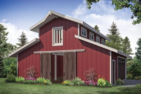 Barn Plan 20-261 - Front Elevation