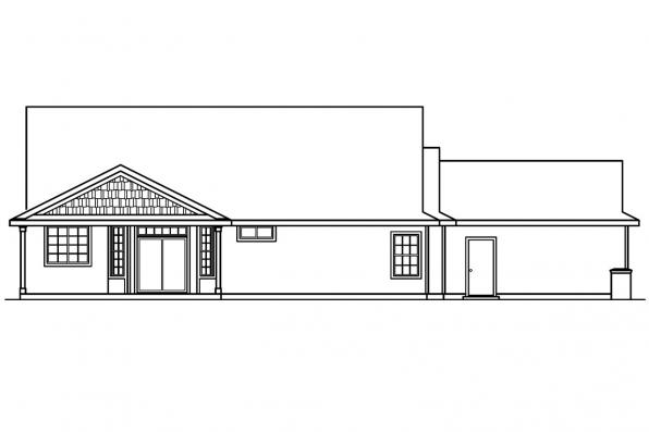 Country Home Plan - Ashley 30-264 - Rear Elevation