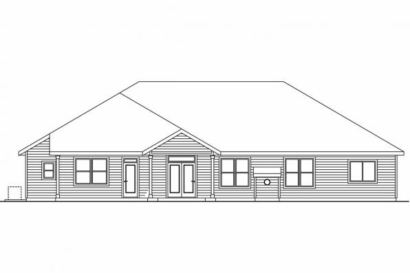 Country House Plan - Creekstone 30-708 - Rear Elevation