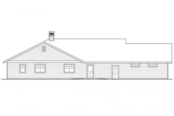 Country House Plan - Elk Lake 30-849 - Rear Elevation