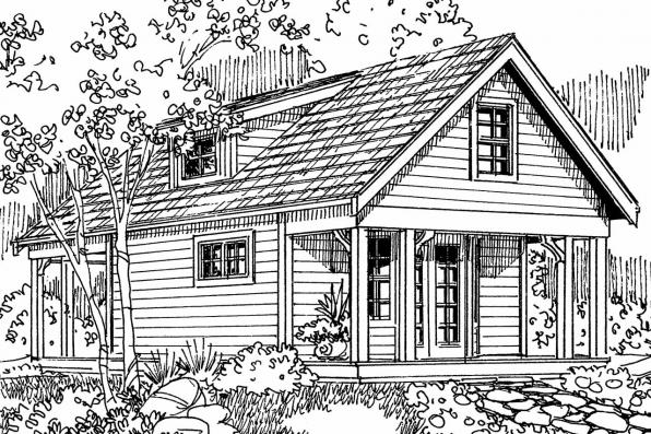 Country House Plan - Guest Cottage 30-727 - Front Elevation