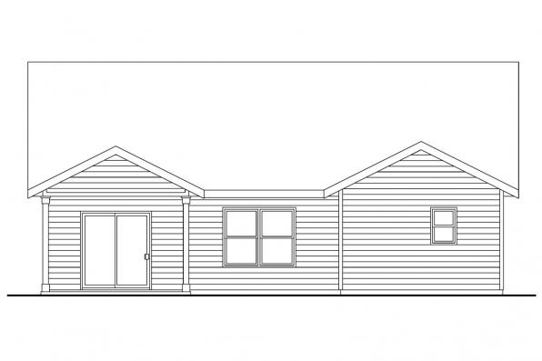 Country House Plan - Redrock 30-636 - Rear Elevation
