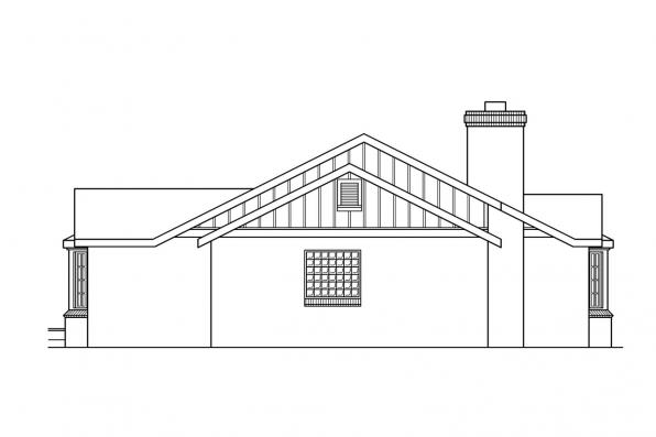 One Story House Plan - Saginaw 10-251 - Right Elevation