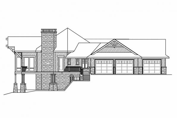 Craftsman House Plan - Barrett 30-773 - Right Elevation