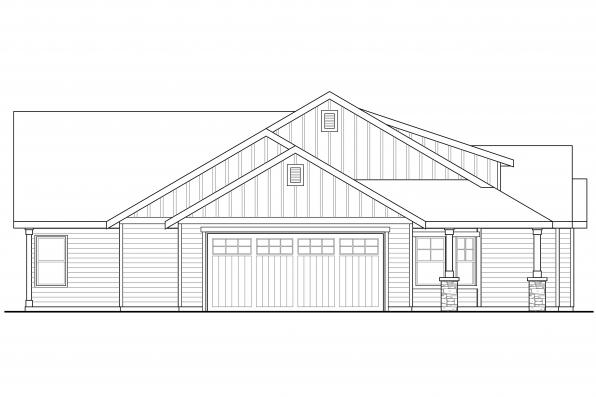 Craftsman House Plan - Brightheart 10-610 - Right Elevation
