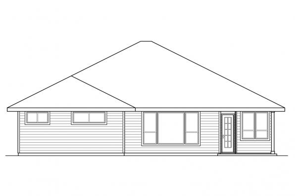 Craftsman House Plan - Oakdale 30-881 - Rear Elevation