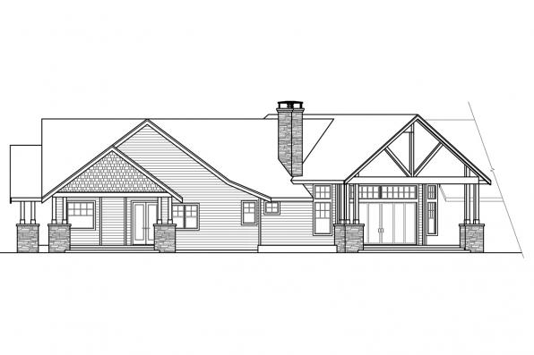 Craftsman House Plan - Petaluma 31-011 - Rear/Left Elevation