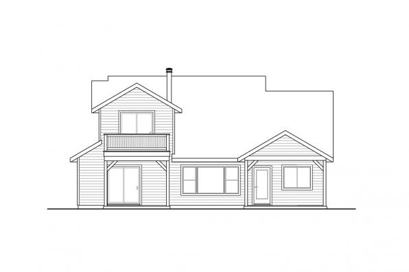 Craftsman House Plan - Sprague 31-200 - Rear Elevation
