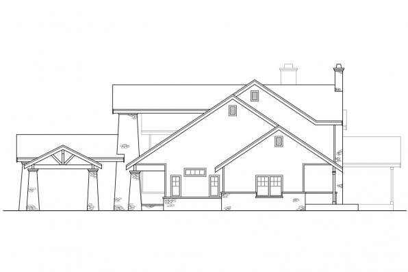 Craftsman House Plan - Timberfield 30-341 - Left Elevation