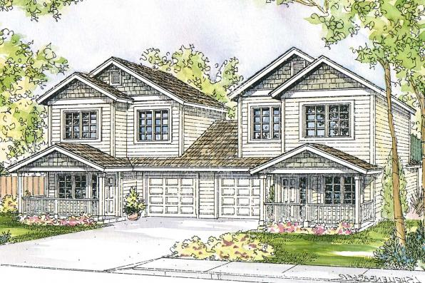 Duplex Plan - Cartersville 60-017 - Front Elevation
