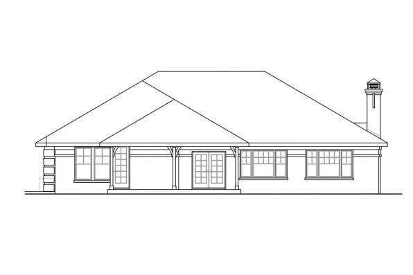 European House Plan - Hills Creek 10-573 - Rear Elevation