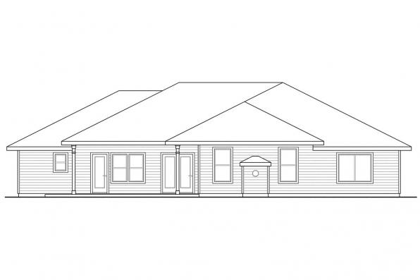 Florida House Plan - Crownpoint 30-770 - Rear Elevation