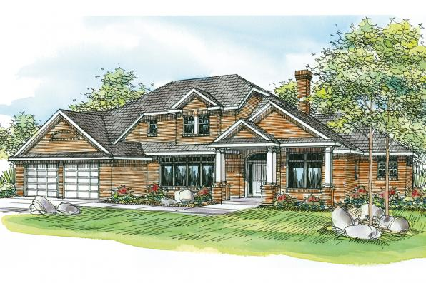 Georgian House Plan - Ainsworth 10-355 - Front Elevation