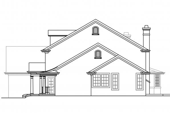 Georgian House Plan - Palmary 10-404 - Left Elevation