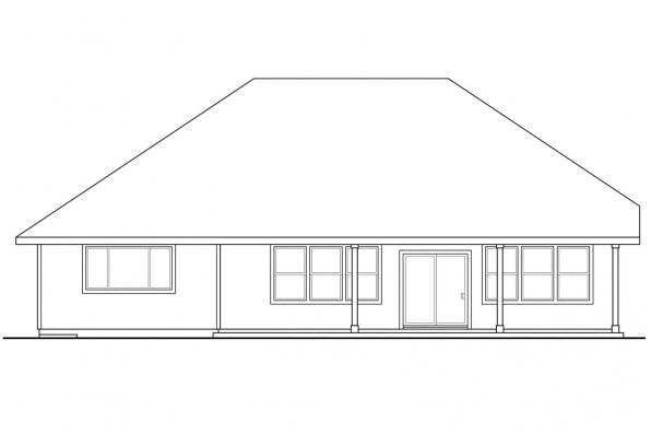 Green House Plan - Greenleaf 70-002 - Rear Elevation