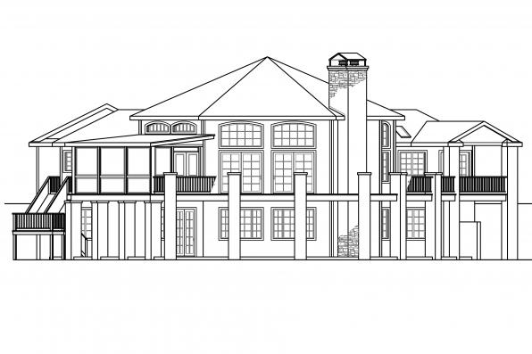Hexagonal House Plan - Hillview 11-138 - Rear Elevation