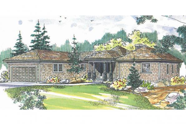 Hexagonal House Plan - Vista 10-154 - Front Elevation
