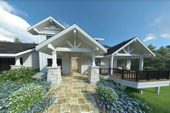 Farmhouse Plan - Stratford 30-615 - Front Entrance
