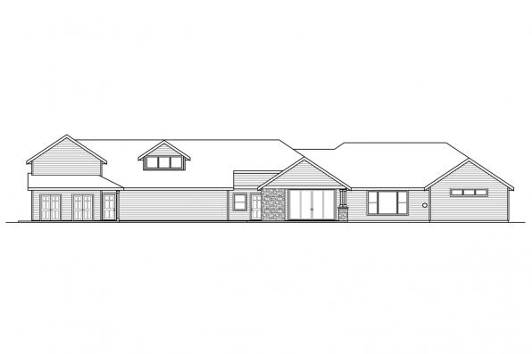 House Plan with Attic - Hickory Creek 30-848 - Rear Elevation