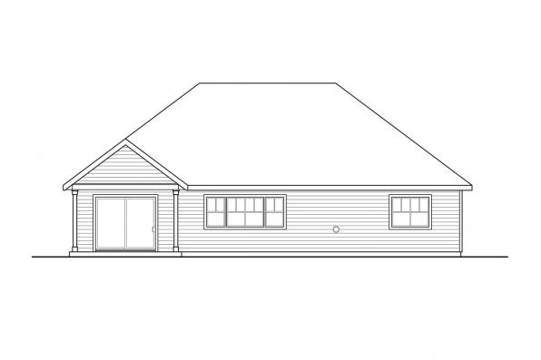 Cottage House Plan Aster 31-161 - Rear Elevation