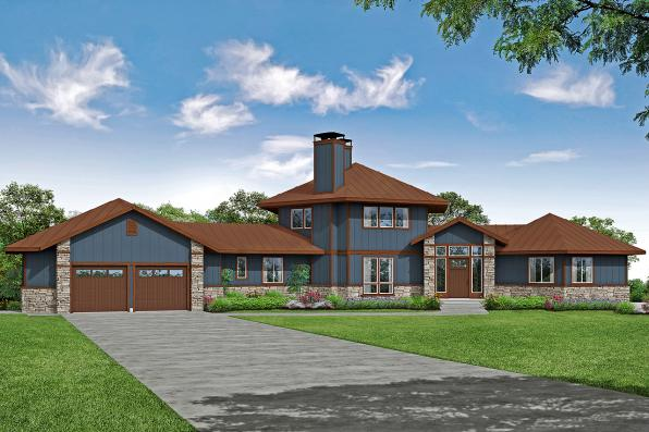 Lodge House Plan - Ashcroft 31-187 - Front Elevation