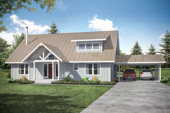 Lodge Style Home Design - Laverne 30-744 - Front Exterior